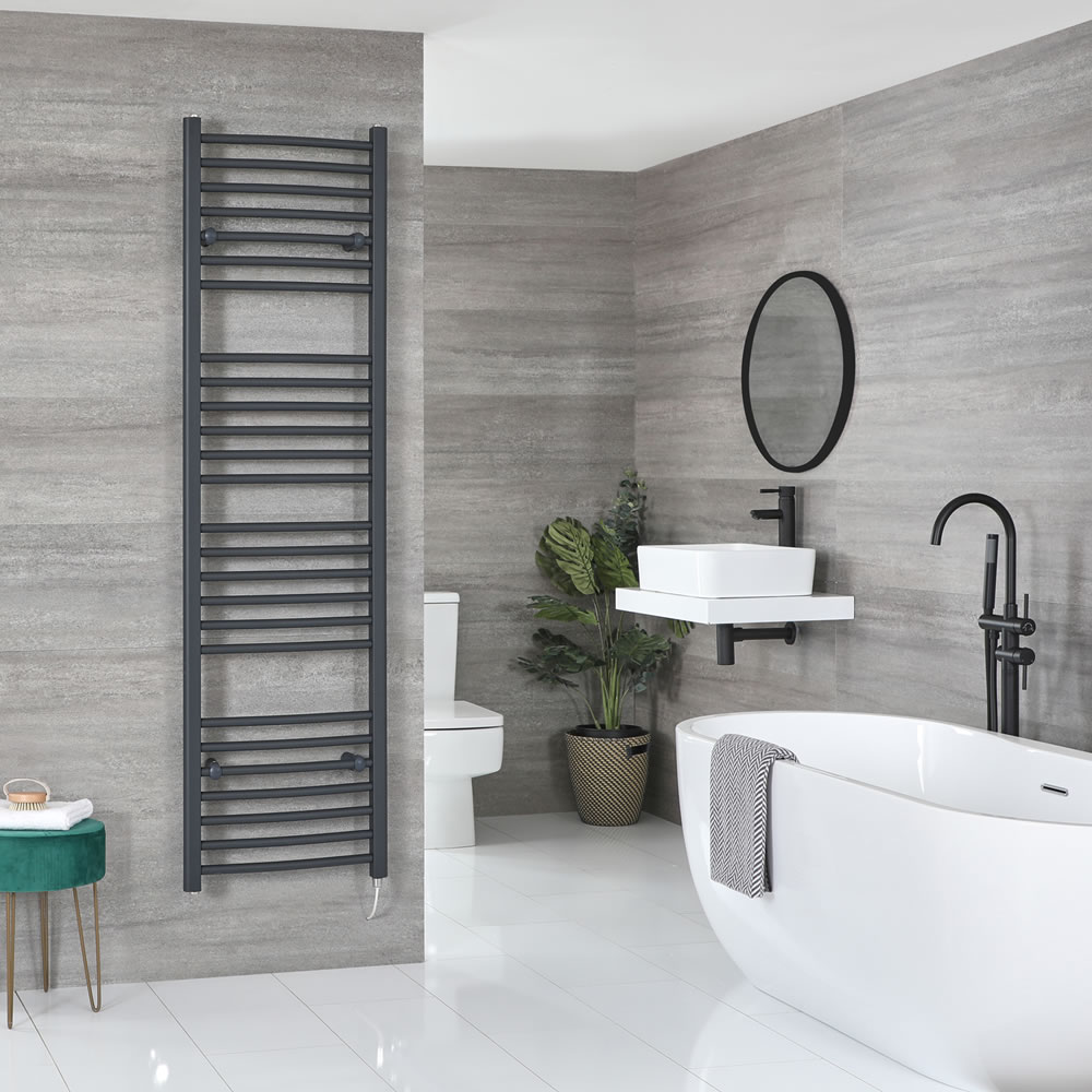 Milano Artle Electric - Anthracite Flat Heated Towel Rail - 1800mm x 500mm