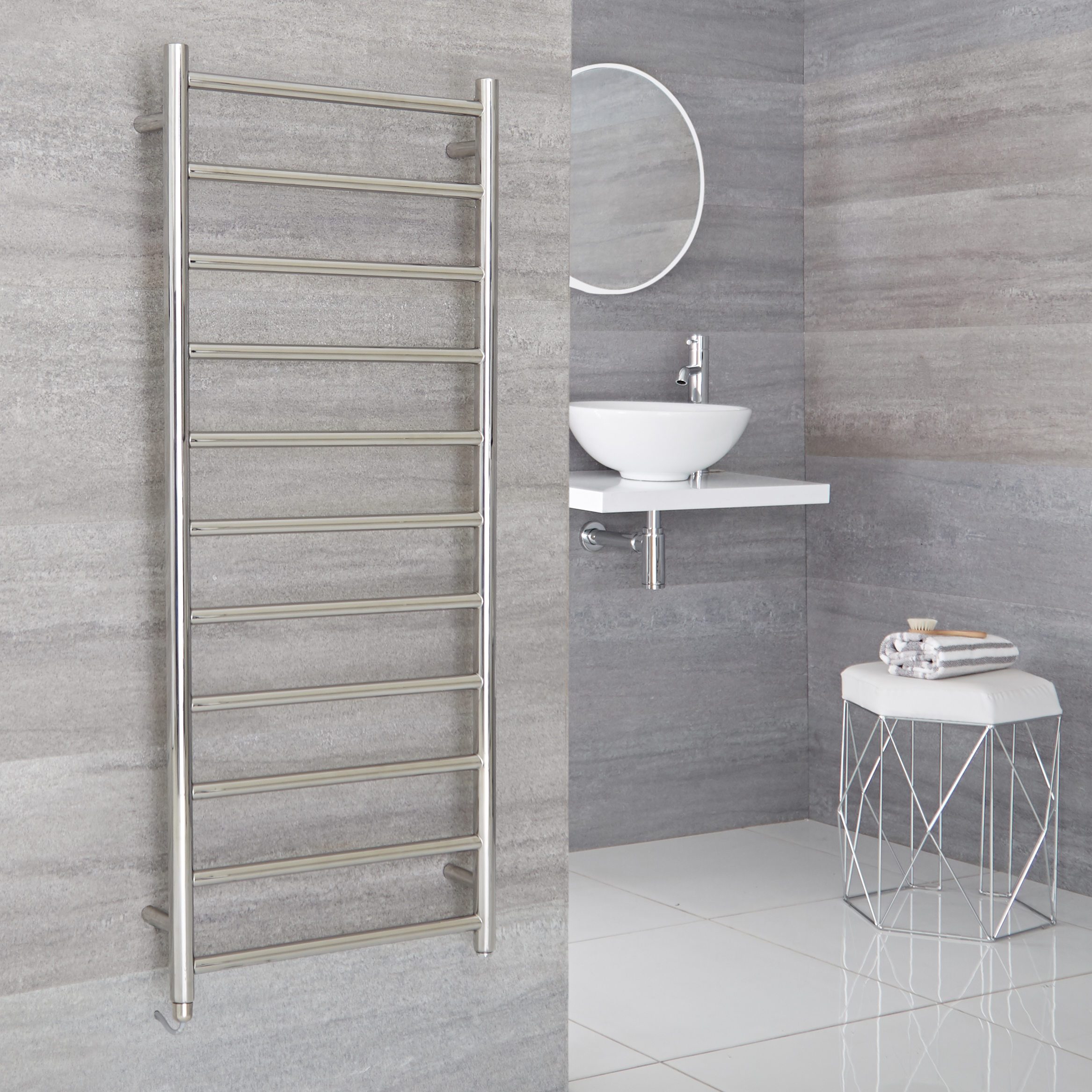 Milano Esk Electric - Stainless Steel Flat Heated Towel Rail - 500mm x 1200mm