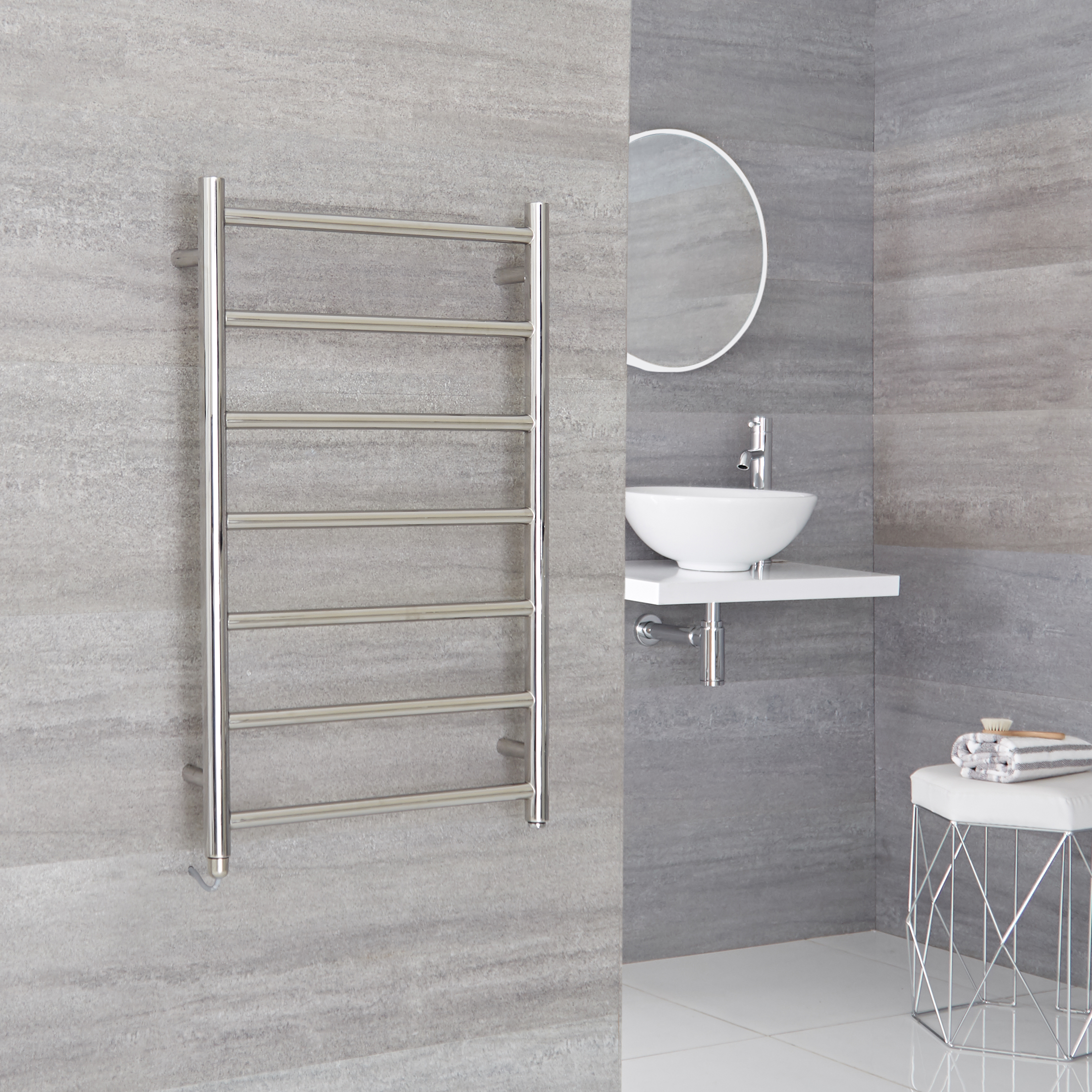 Milano Esk Electric - Stainless Steel Flat Heated Towel Rail - 500mm x 800mm