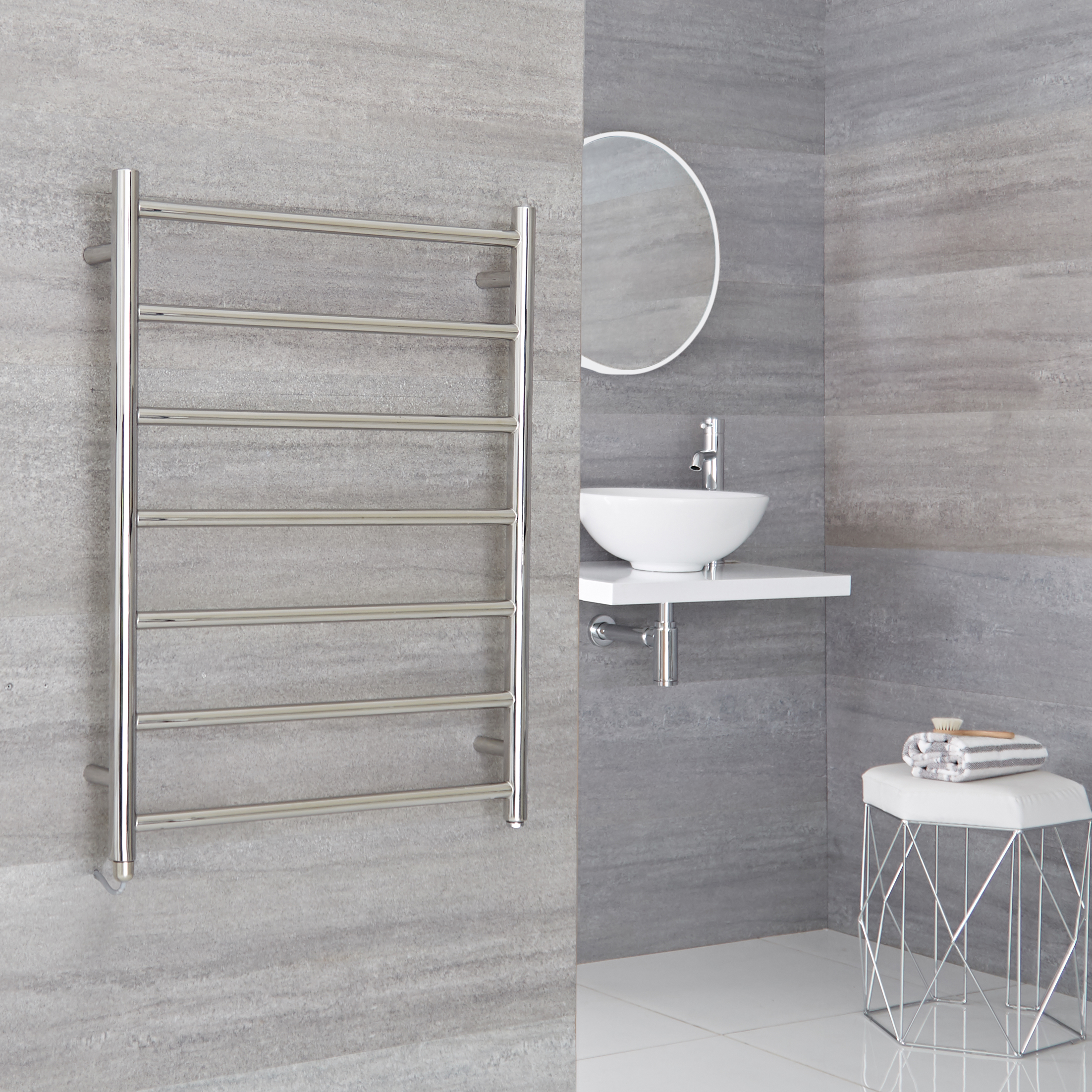 Milano Esk Electric - Stainless Steel Flat Heated Towel Rail - 600mm x 800mm