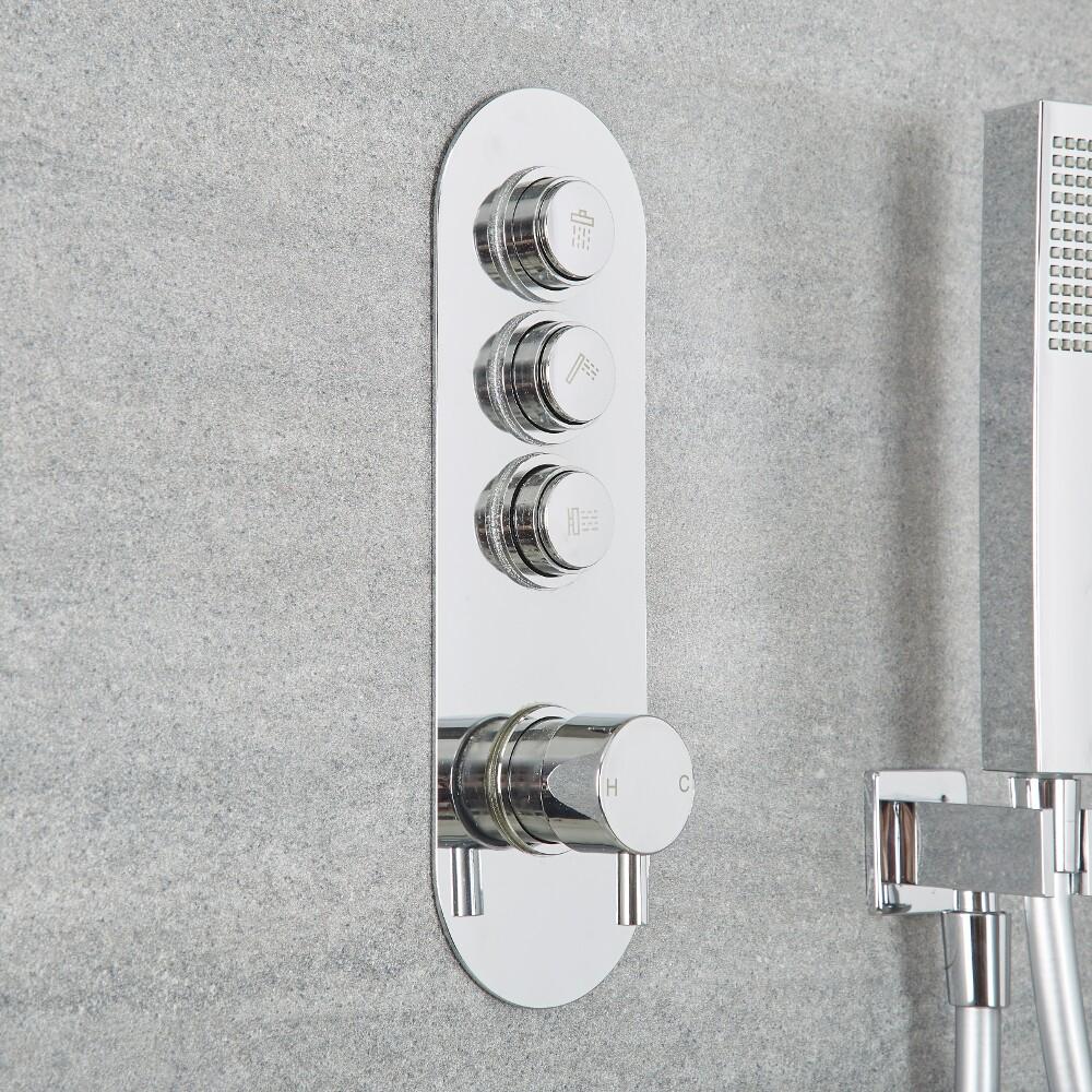 Milano Orta - Three Outlet Push Button Shower Valve - Round Button