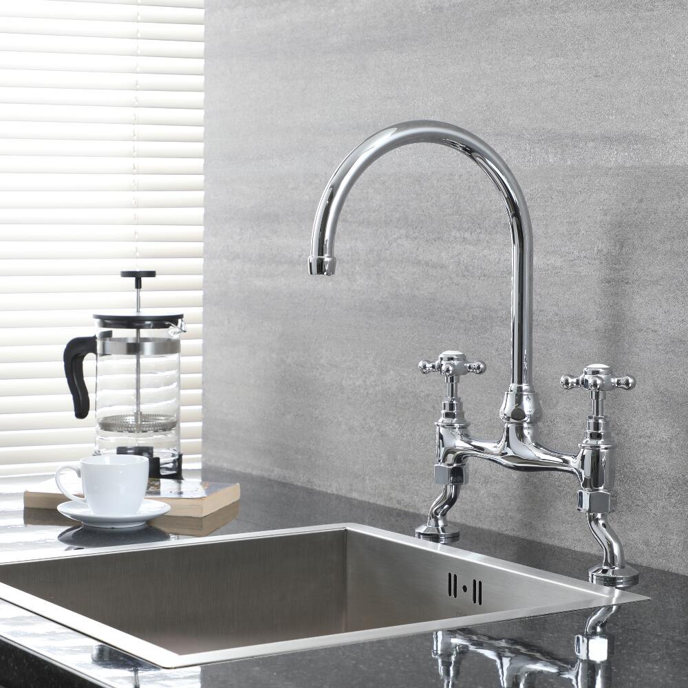 Milano Elizabeth - Traditional Deck Mounted Bridge Kitchen Sink Mixer Tap - Chrome