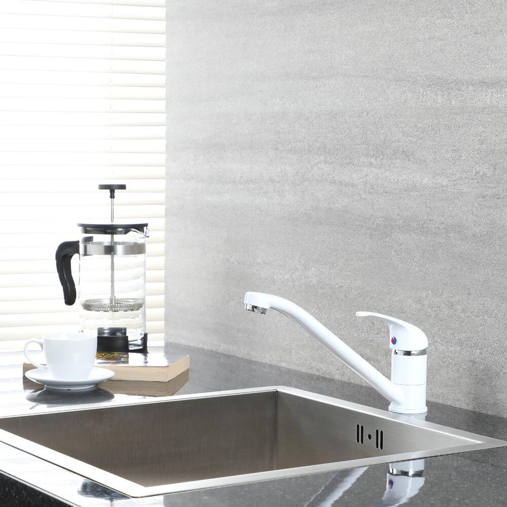 Milano Encore - Modern Deck Mounted Single Lever Kitchen Mixer Tap with Swivel Spout - White