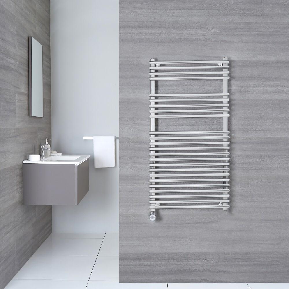 Kudox Harrogate Electric - Chrome Flat Bar on Bar Heated Towel Rail - 1150mm x 450mm