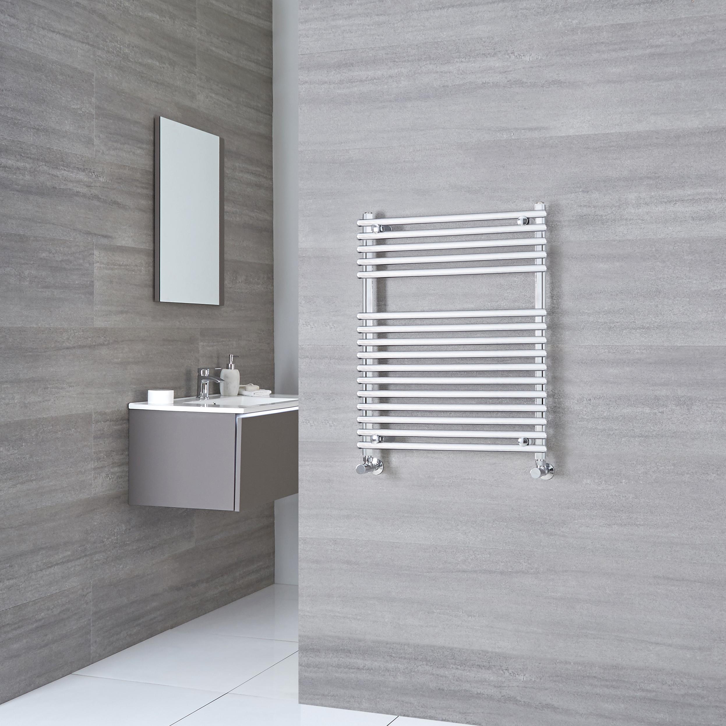Kudox Harrogate - Chrome Flat Bar on Bar Heated Towel Rail - 750mm x 600mm