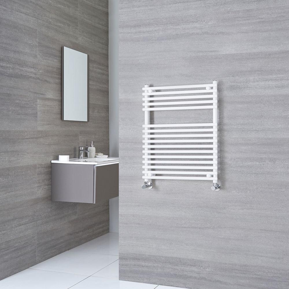 Kudox Harrogate - White Flat Bar on Bar Heated Towel Rail - 750mm x 450mm