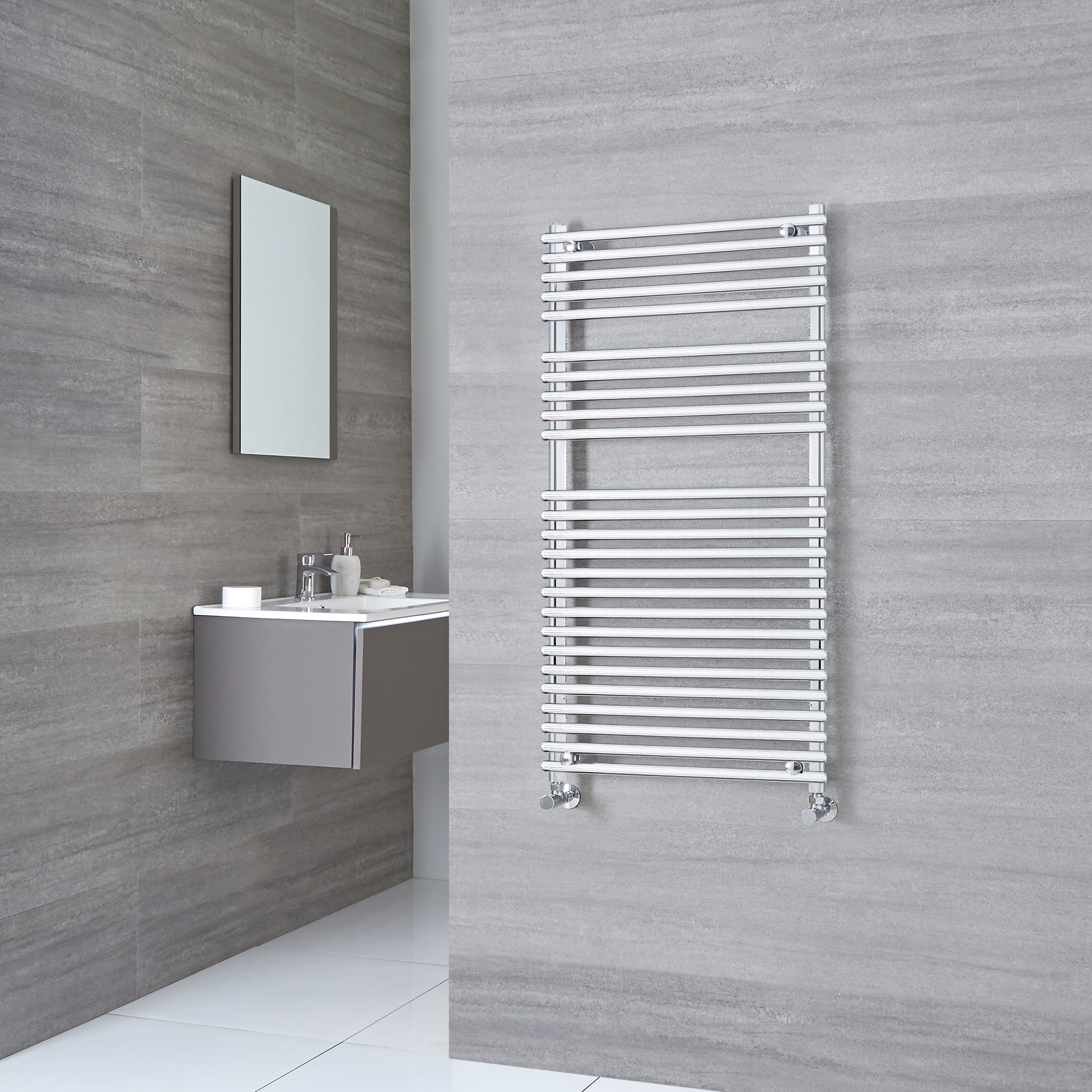 Kudox Harrogate - Chrome Flat Bar on Bar Heated Towel Rail - 1150mm x 600mm