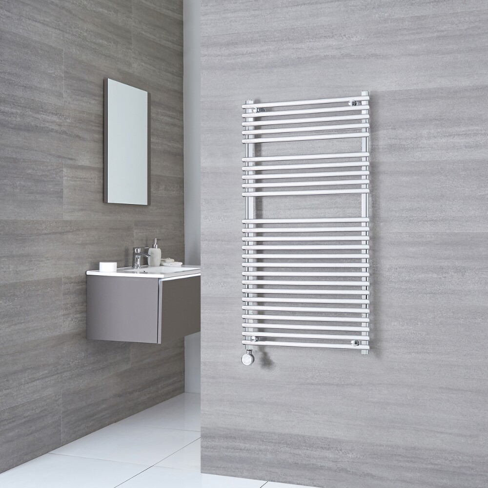 Kudox Harrogate Electric - Chrome Flat Bar on Bar Heated Towel Rail - 1150mm x 600mm