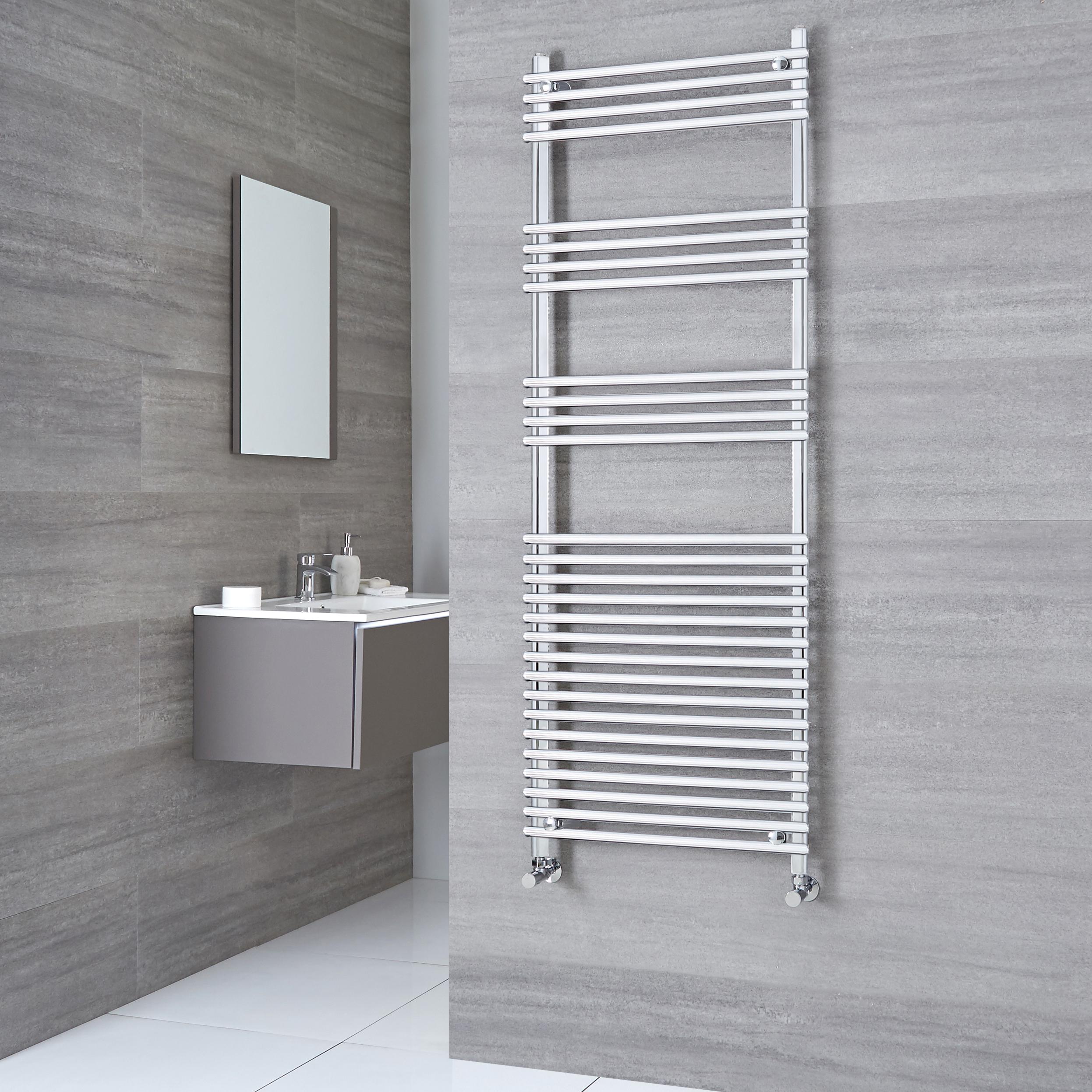 Kudox Harrogate - Chrome Flat Bar on Bar Heated Towel Rail - 1650mm x 600mm