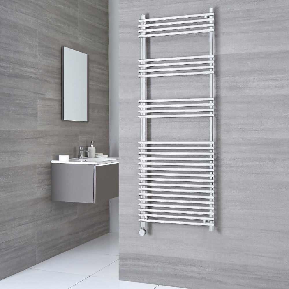 Kudox Harrogate Electric - Chrome Flat Bar on Bar Heated Towel Rail - 1650mm x 450mm
