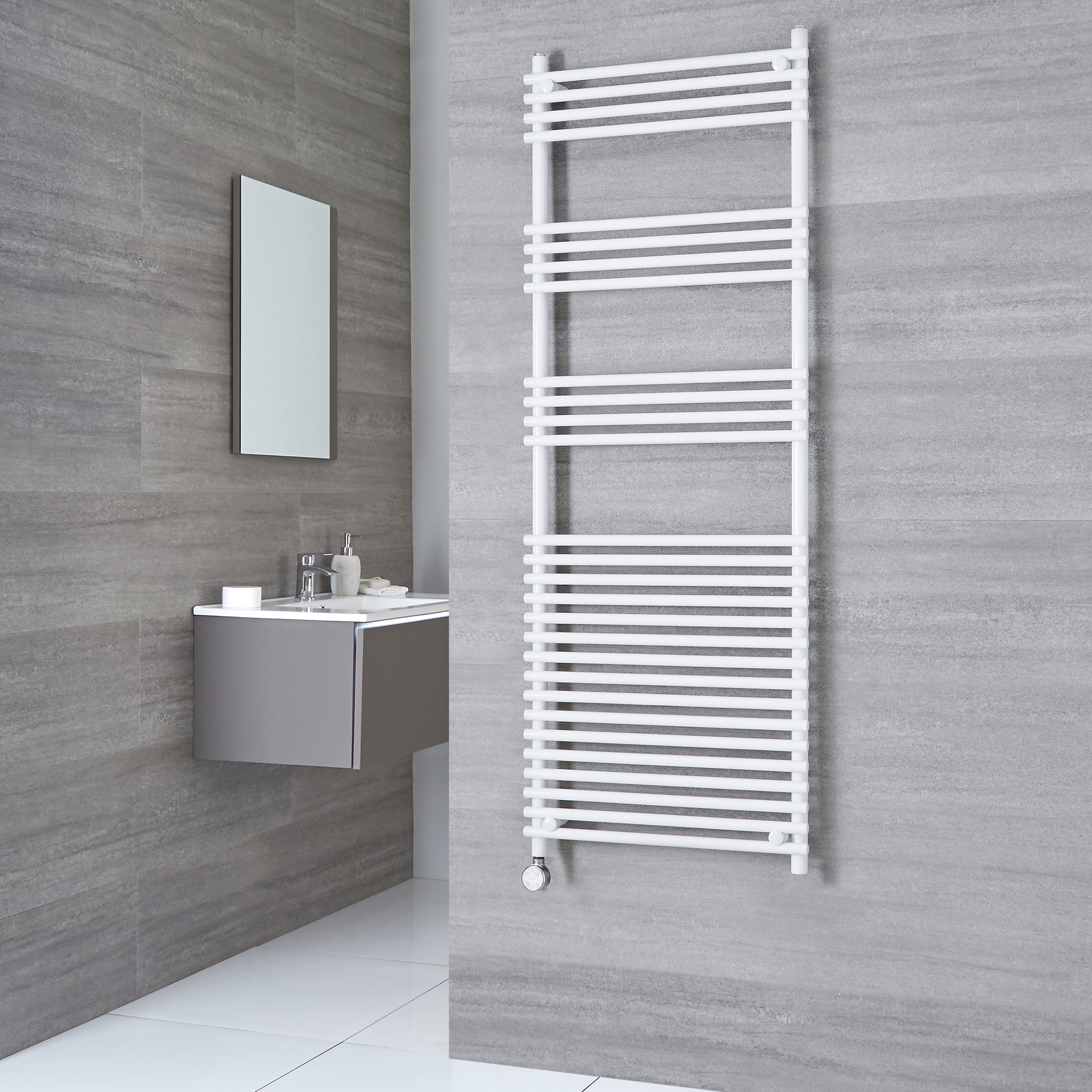 Kudox Harrogate Electric - White Flat Bar on Bar Heated Towel Rail - 1650mm x 600mm