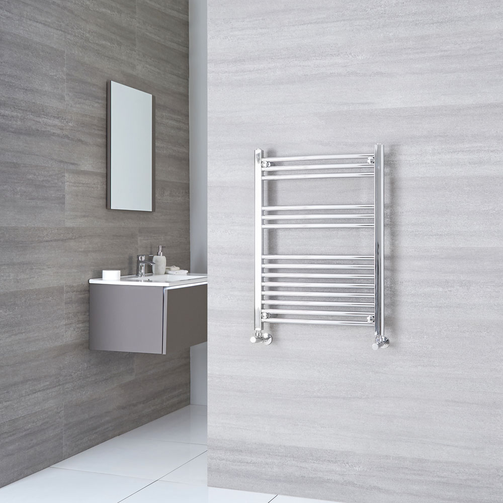 Kudox Ladder - Premium Chrome Curved Heated Towel Rail - 800mm x 600mm