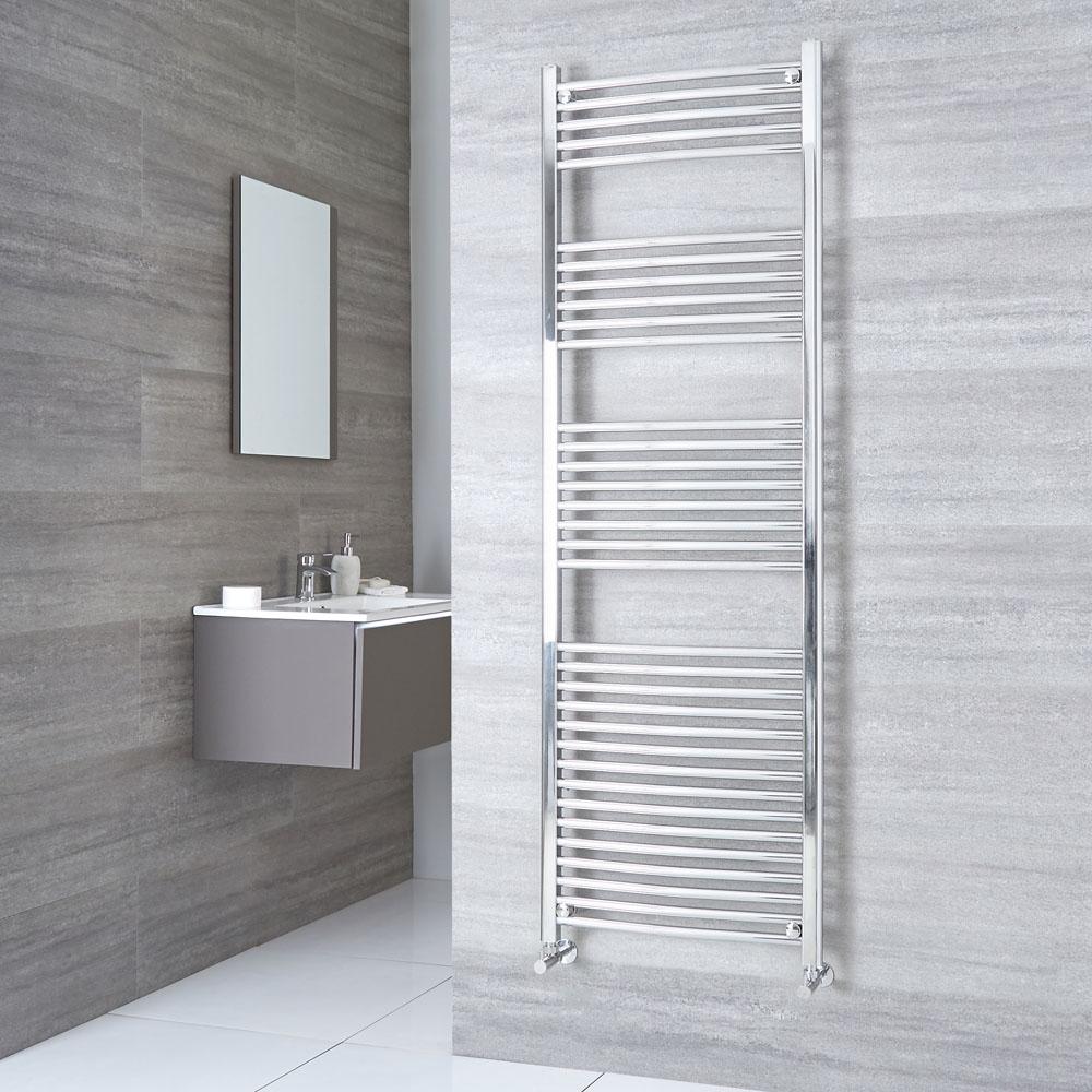 Kudox Ladder - Premium Chrome Curved Heated Towel Rail - 1800mm x 600mm
