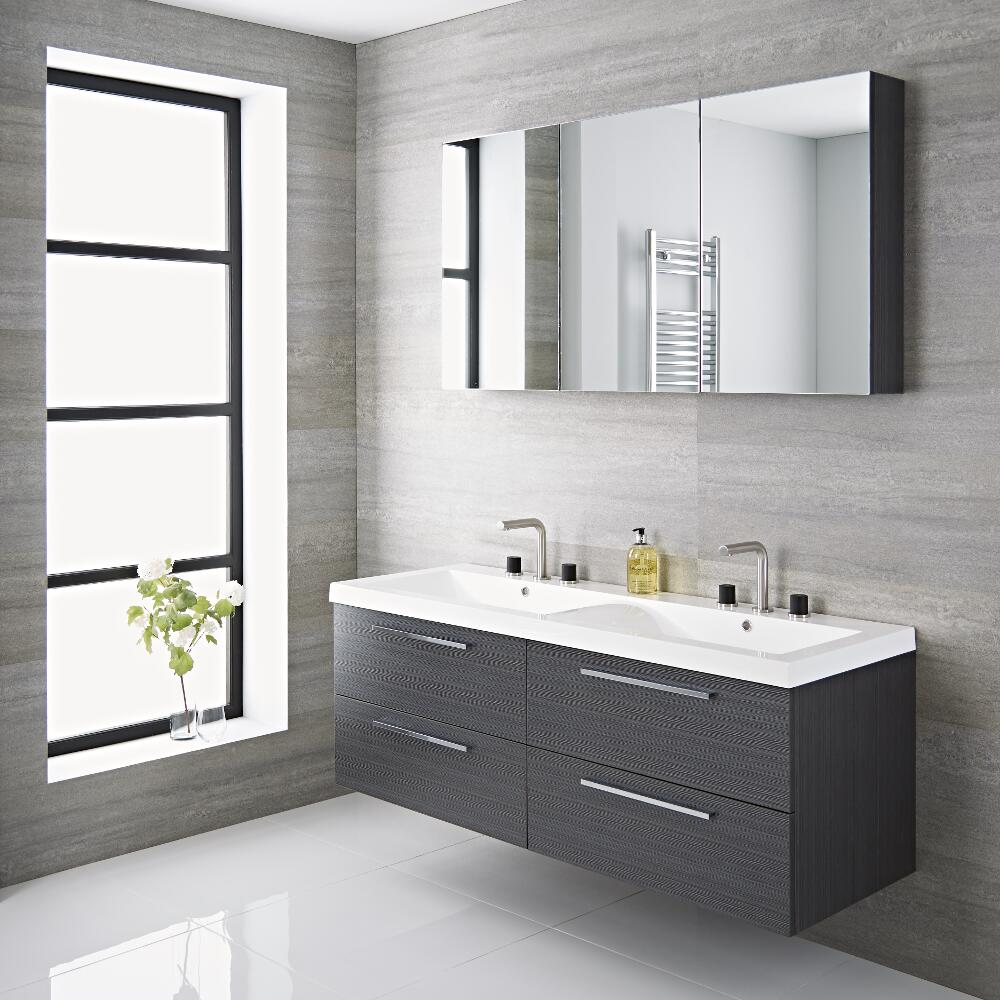 Milano Linley - Grey 1440mm Double Wall Hung Vanity Unit with Basins