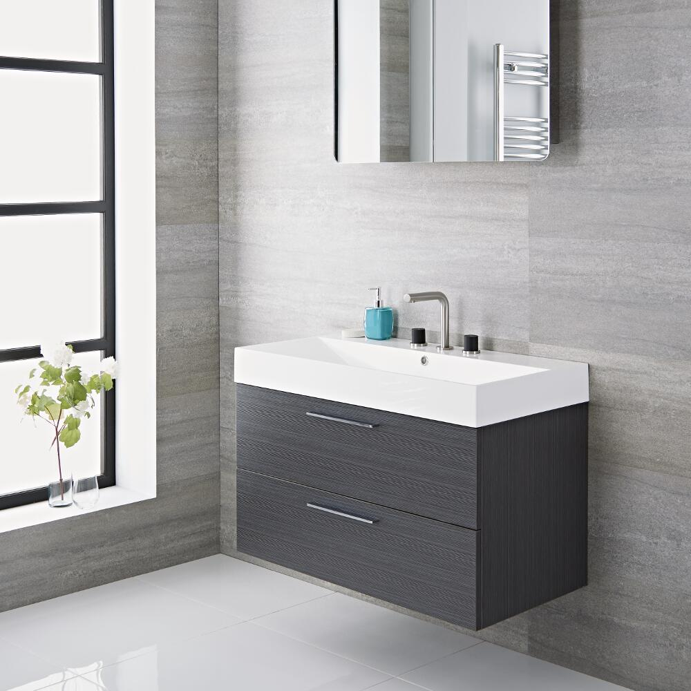Milano Linley - Grey 900mm Wall Hung Vanity Unit with Basin