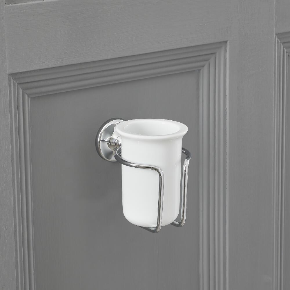 Milano Elizabeth - Traditional Wall Hung Tumbler with Holder - Chrome