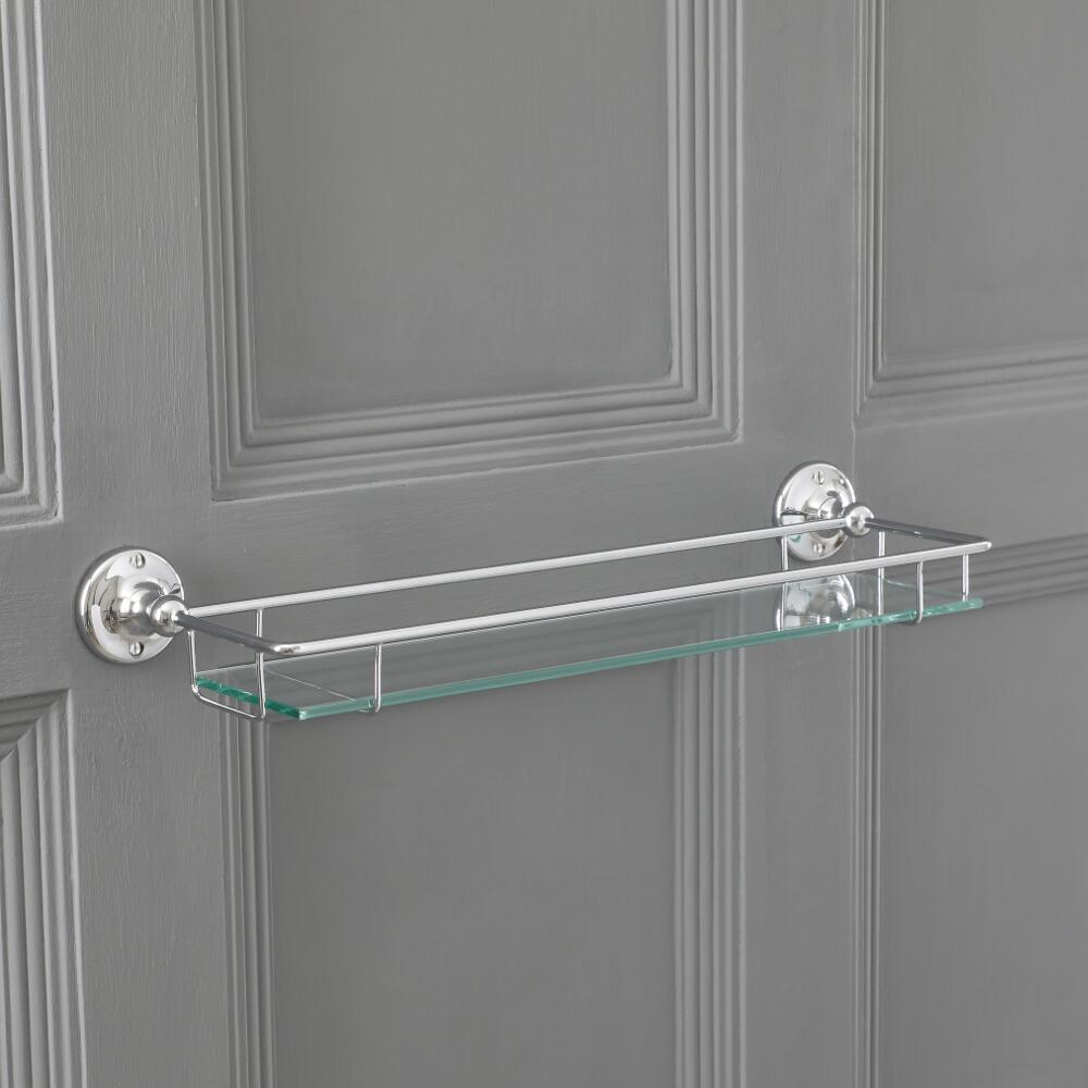 Milano Elizabeth - Traditional Glass Bathroom Shelf with Chrome Frame