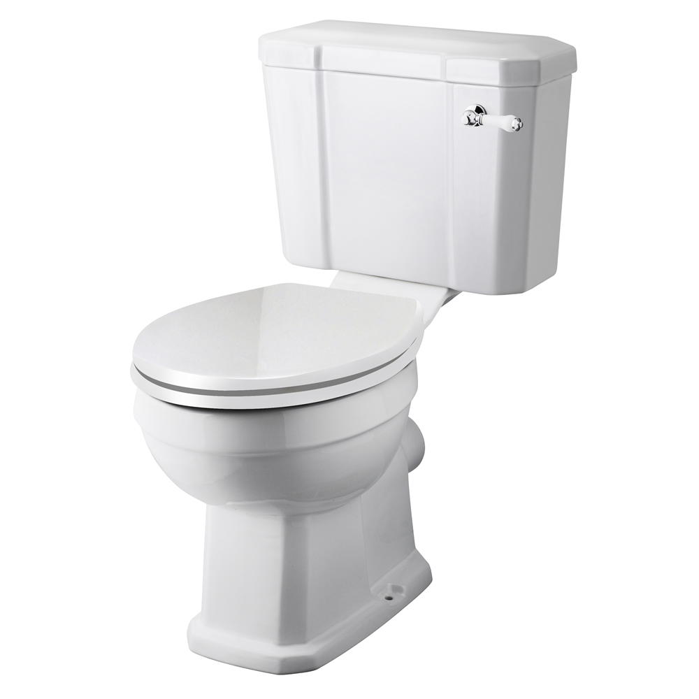 Milano Carlton - White Traditional Close Coupled Toilet with Cistern and Soft Close Seat