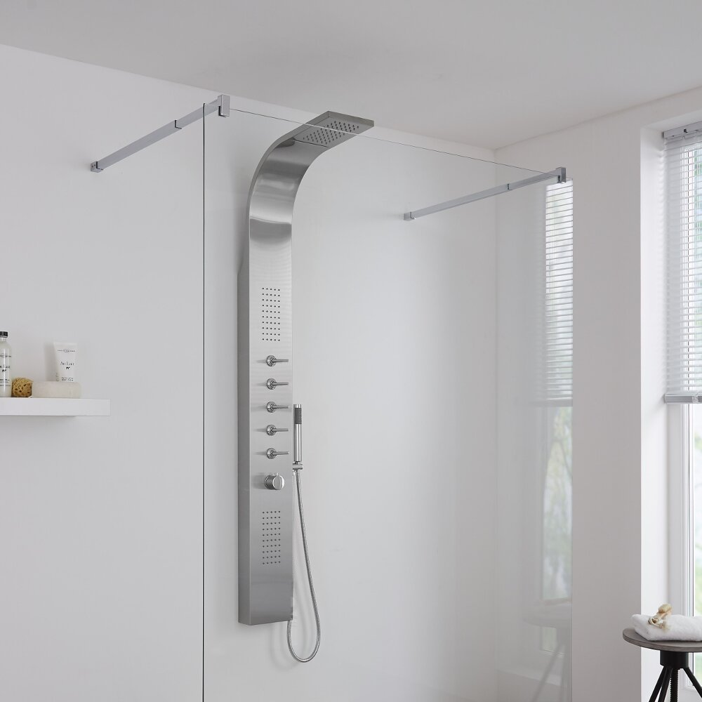 Milano Niagara - Modern Exposed Thermostatic Shower Tower Panel with Waterfall Shower Head, Hand Shower and Body Jets - Chrome