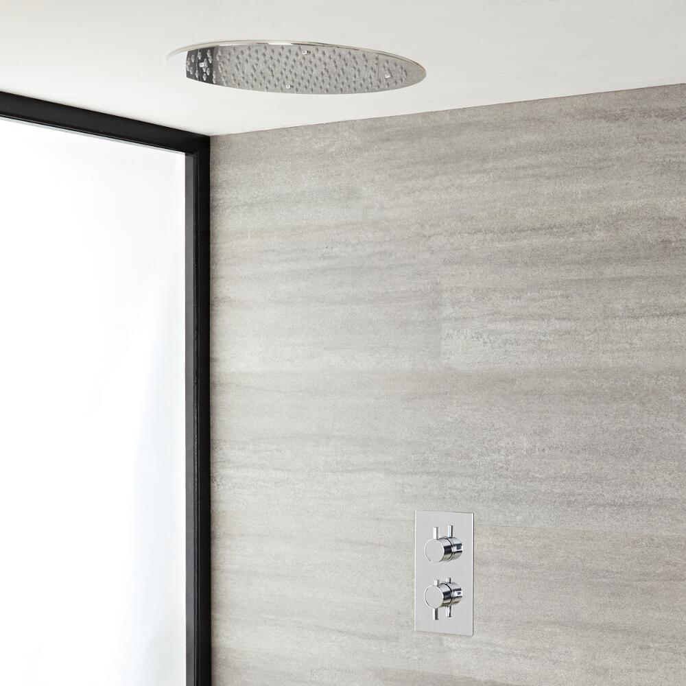 Milano Mirage - Modern Thermostatic Shower Mixer Kit with Large 400mm Round Recessed Shower Head - Chrome