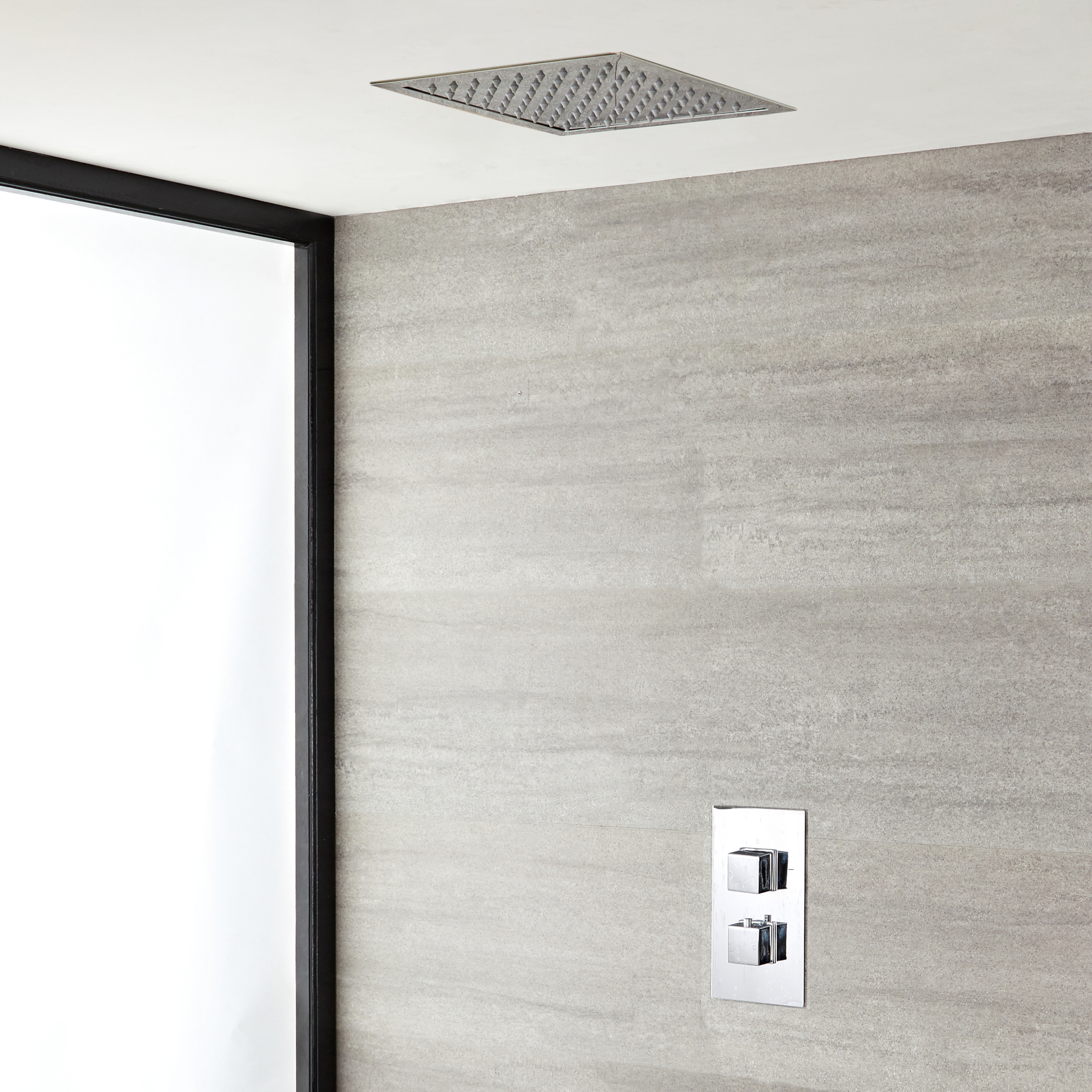 Milano Arvo - Chrome Thermostatic Shower with Recessed Shower Head (1 Outlet)