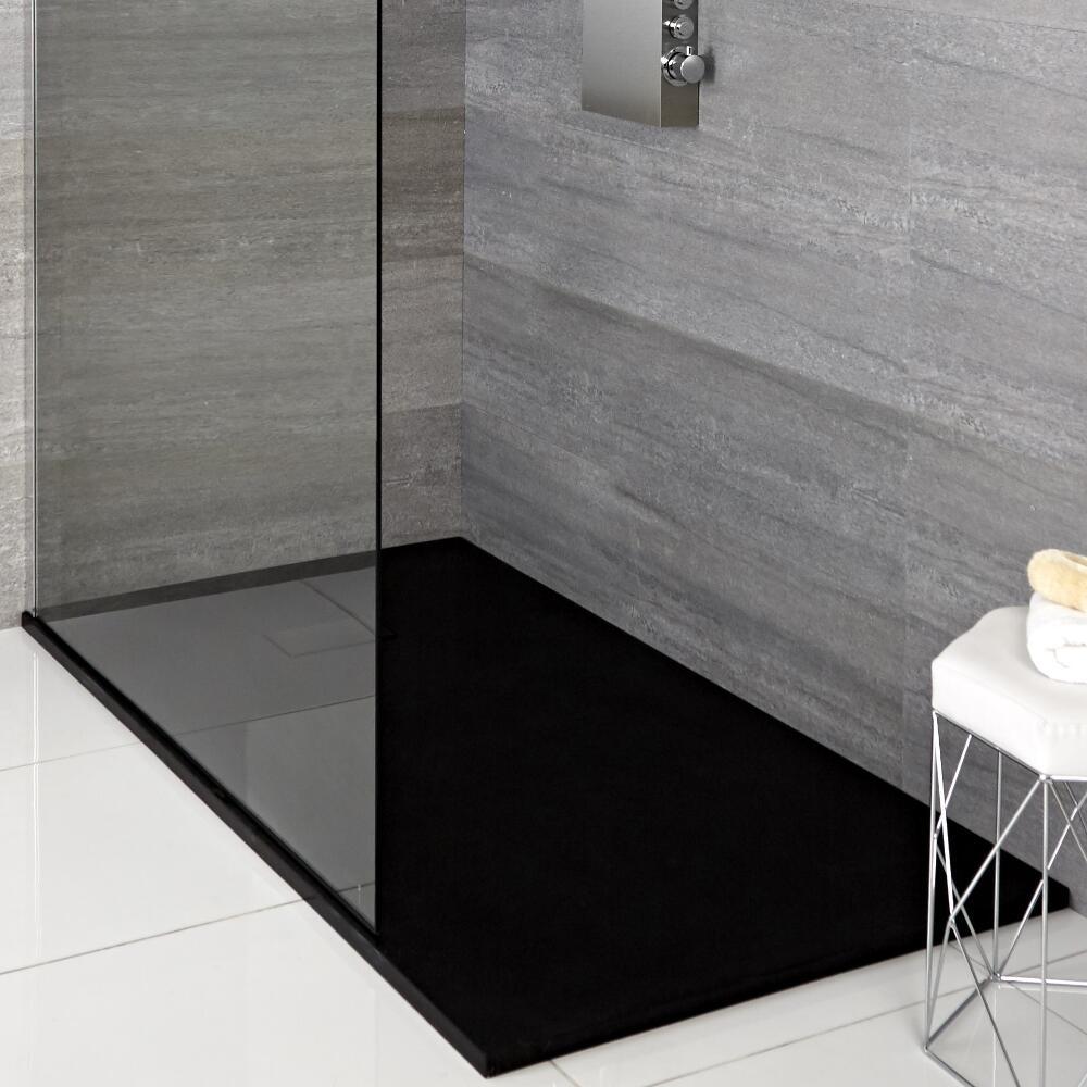 Milano Rasa - Graphite Slate Effect Rectangular Shower Tray - 1000mm x 800mm