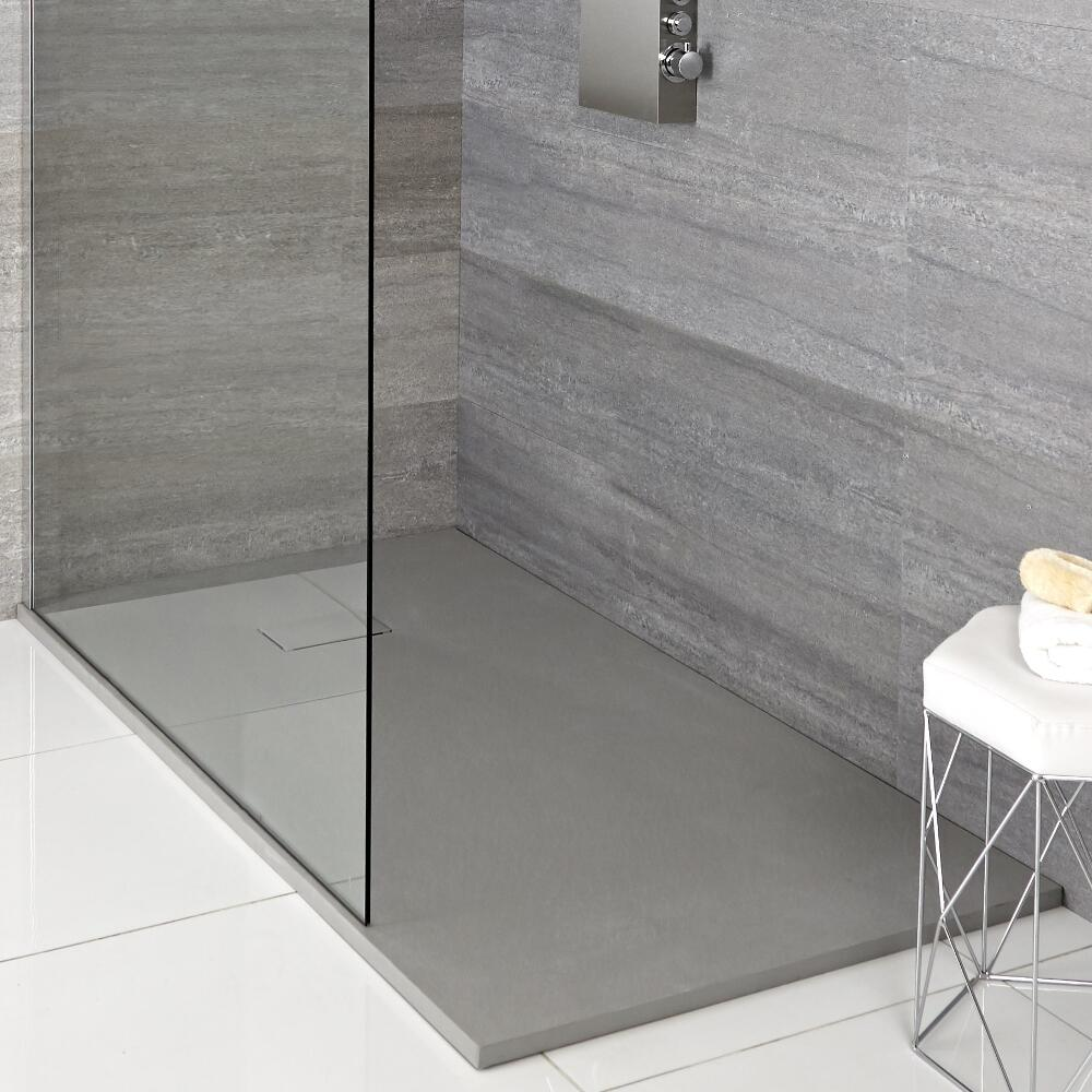 Milano Light Grey Slate Effect Rectangular Shower Tray 1500x900mm