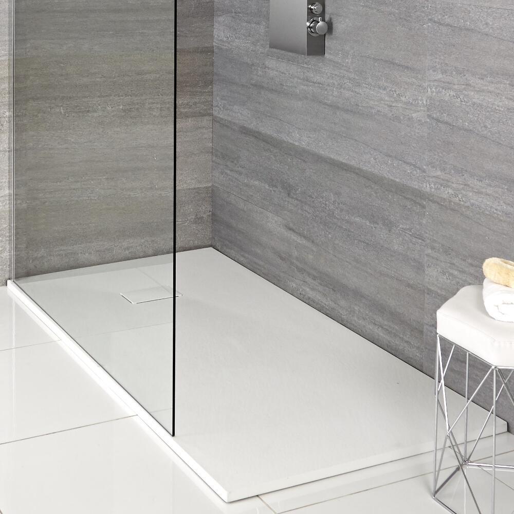 Milano Matt White Slate Effect Rectangular Shower Tray 900x800mm