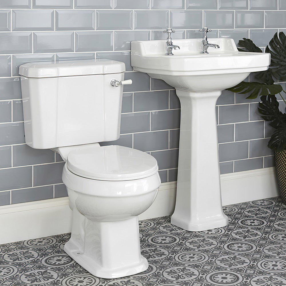 Milano Richmond - White Traditional Square Cloakroom Basin with Full Pedestal - 500mm x 350mm (2 Tap-Holes)