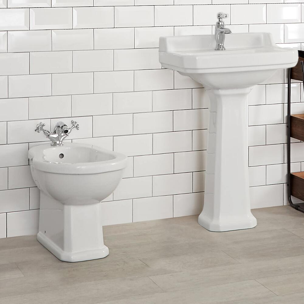 Milano Carlton - White Traditional Floor Standing Bidet - 405mm x 390mm
