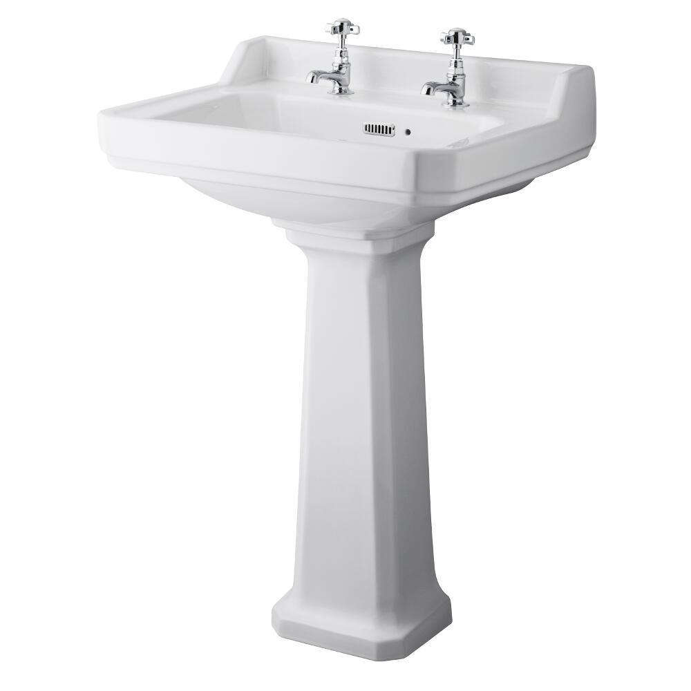 Premier Carlton - 595mm Basin with Full Pedestal - 2 Tap-Holes