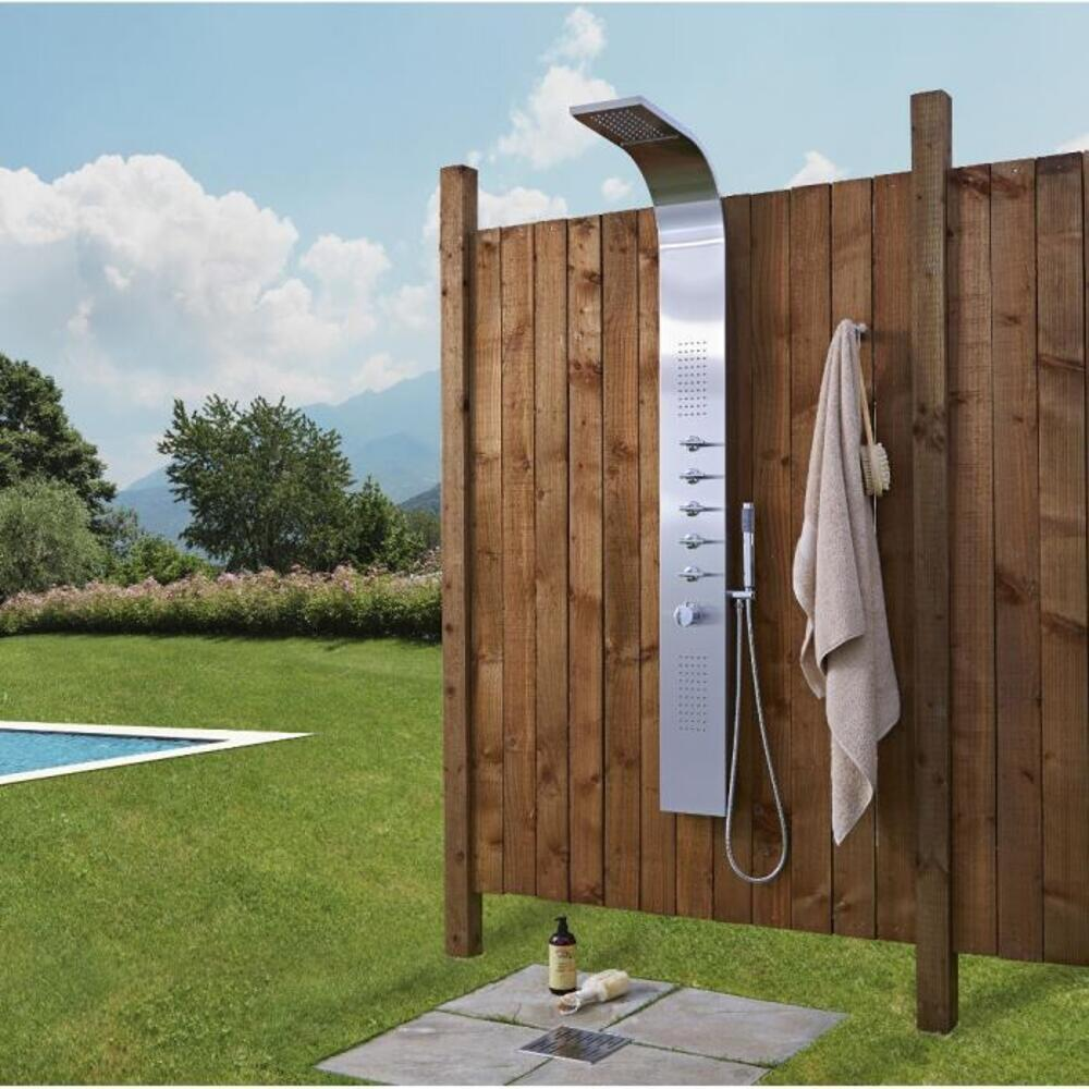 Milano Niagra - Chrome Thermostatic Outdoor Shower with Shower Head, Hand Shower and Body Jets (5 Outlet)