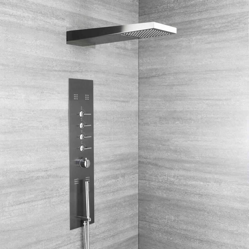 Milano Oceanie - Modern Concealed Thermostatic Shower Tower Panel with Waterfall Shower Head, Hand Shower and Body Jets - Grey