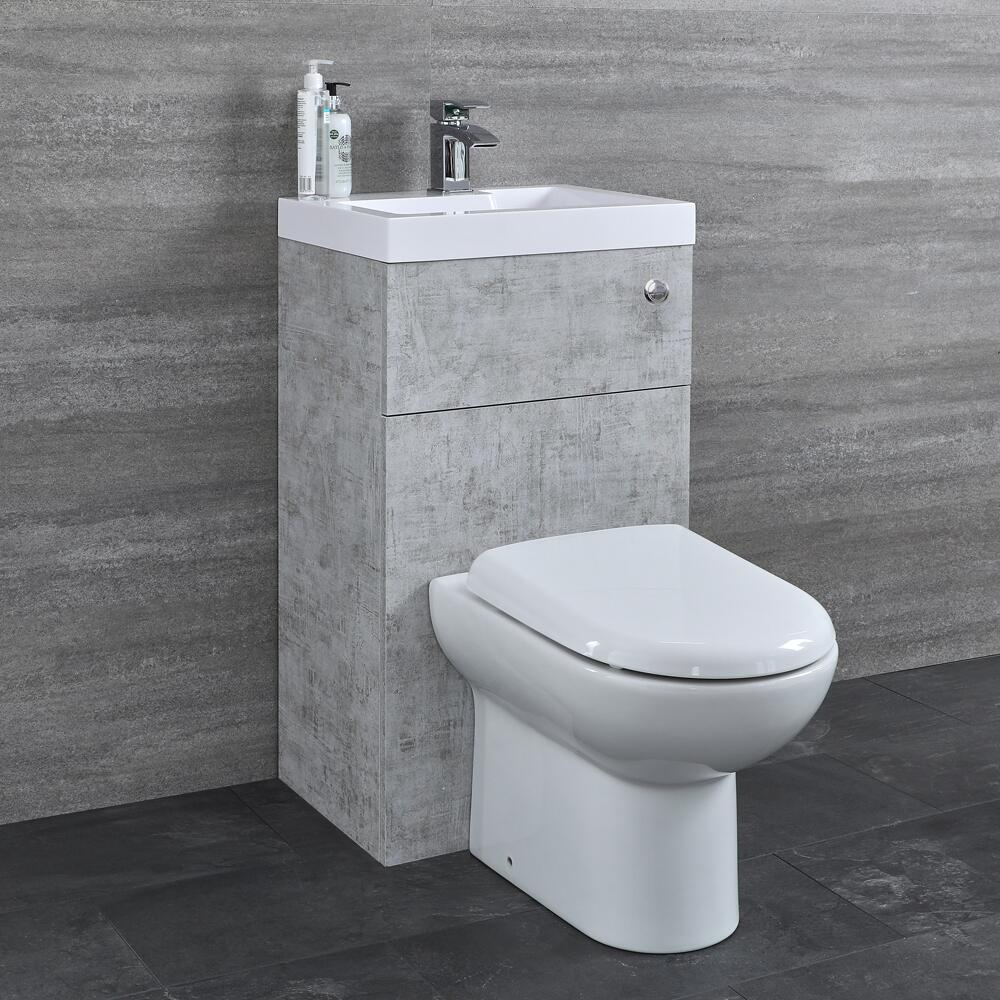 Milano Lurus - Concrete Grey Modern Select Basin and Toilet Unit Combination - 500mm x 890mm