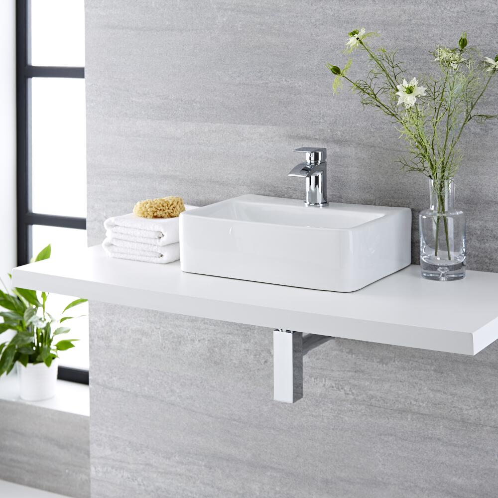 Milano Farington - White Modern Rectangular Countertop Basin with Mixer Tap - 400mm x 295mm (1 Tap-Hole)