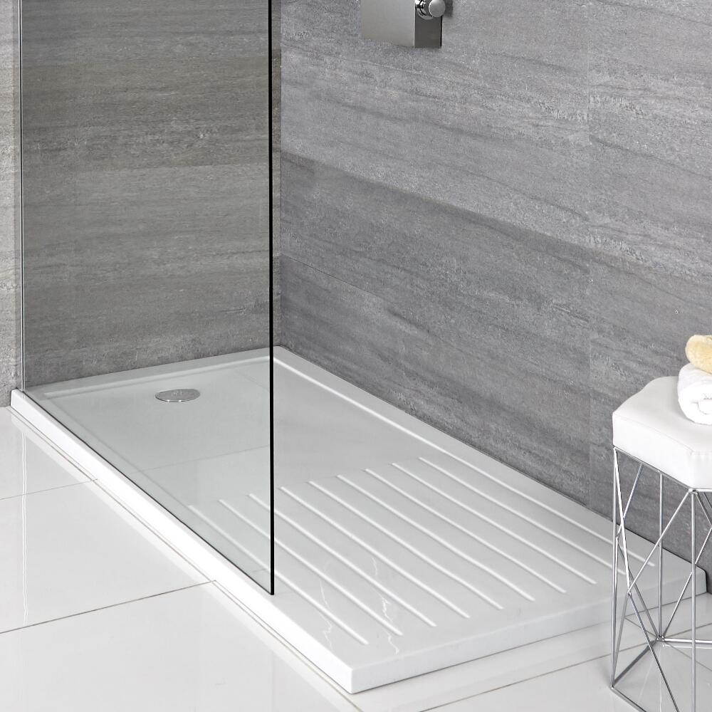 Milano - Low Profile Rectangular Walk-in Shower Tray with Drying Area - 1600mm x 800mm