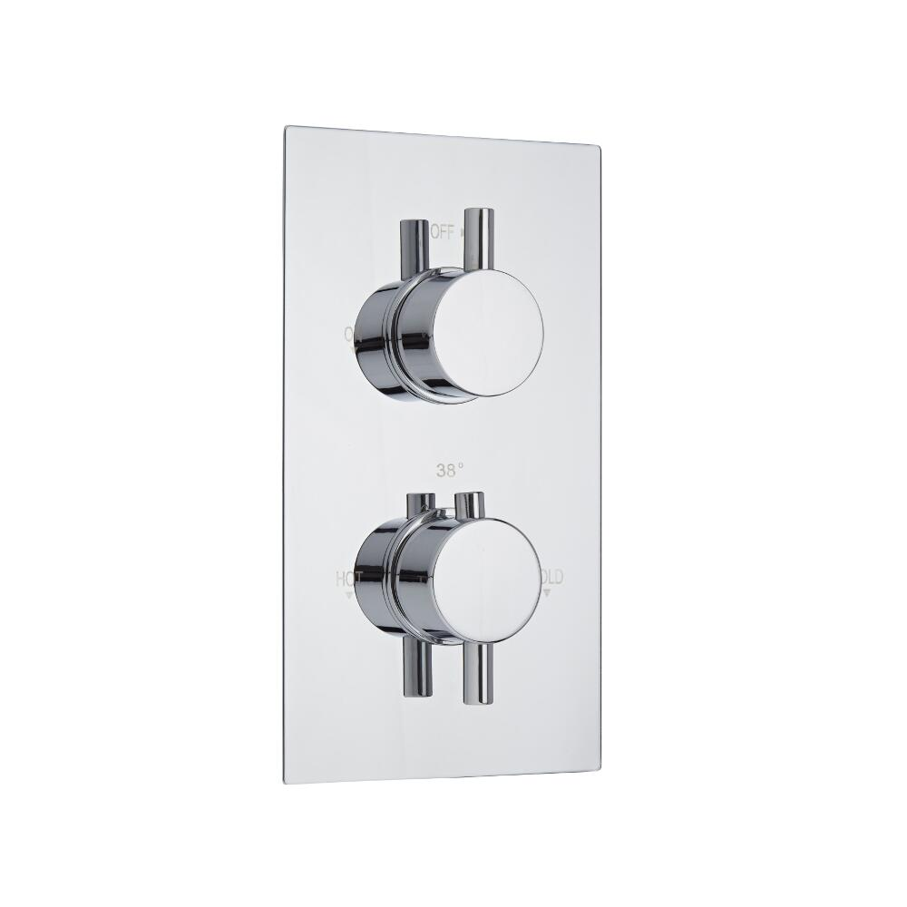 Milano Como Round Twin Thermostatic Shower Valve - 1 Outlet Standard Plate
