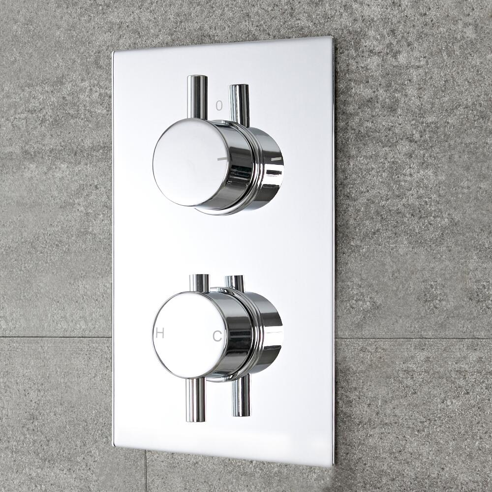 Milano Mirage - Round 2 Outlet Twin Diverter Thermostatic Shower Valve - Chrome