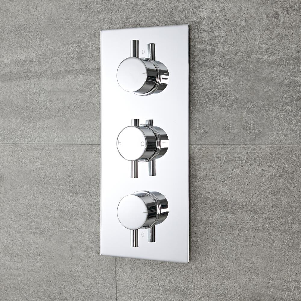 Milano Mirage - Round 3 Outlet Triple Diverter Thermostatic Shower Valve - Chrome