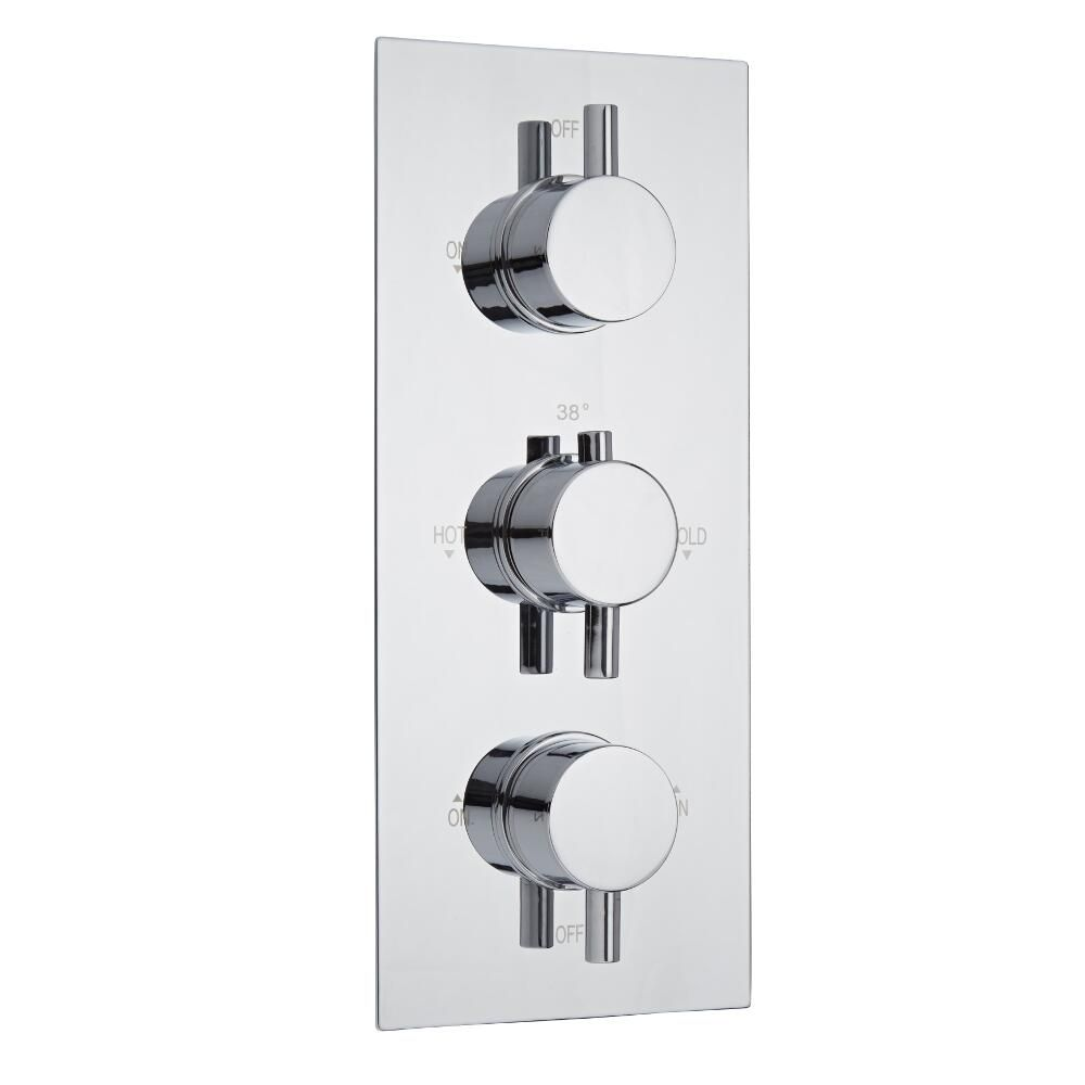 Milano Como Round Triple Diverter Thermostatic Shower Valve - 3 Outlets Standard Plate