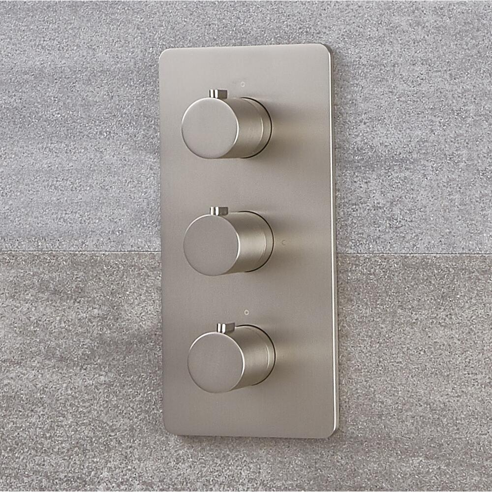Milano Hunston - Modern Thermostatic Triple Shower Valve - Two Outlets - Brushed Nickel