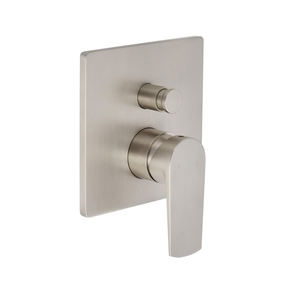 Milano Hunston - Modern Manual Shower Valve - Two Outlets - Brushed Nickel