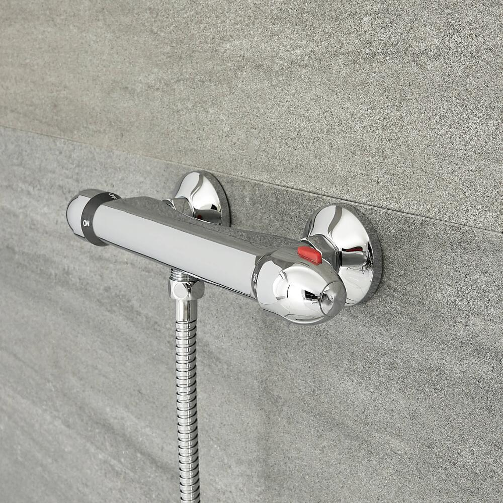 Milano Select - Modern 1 Outlet Thermostatic Shower Bar Valve - Chrome