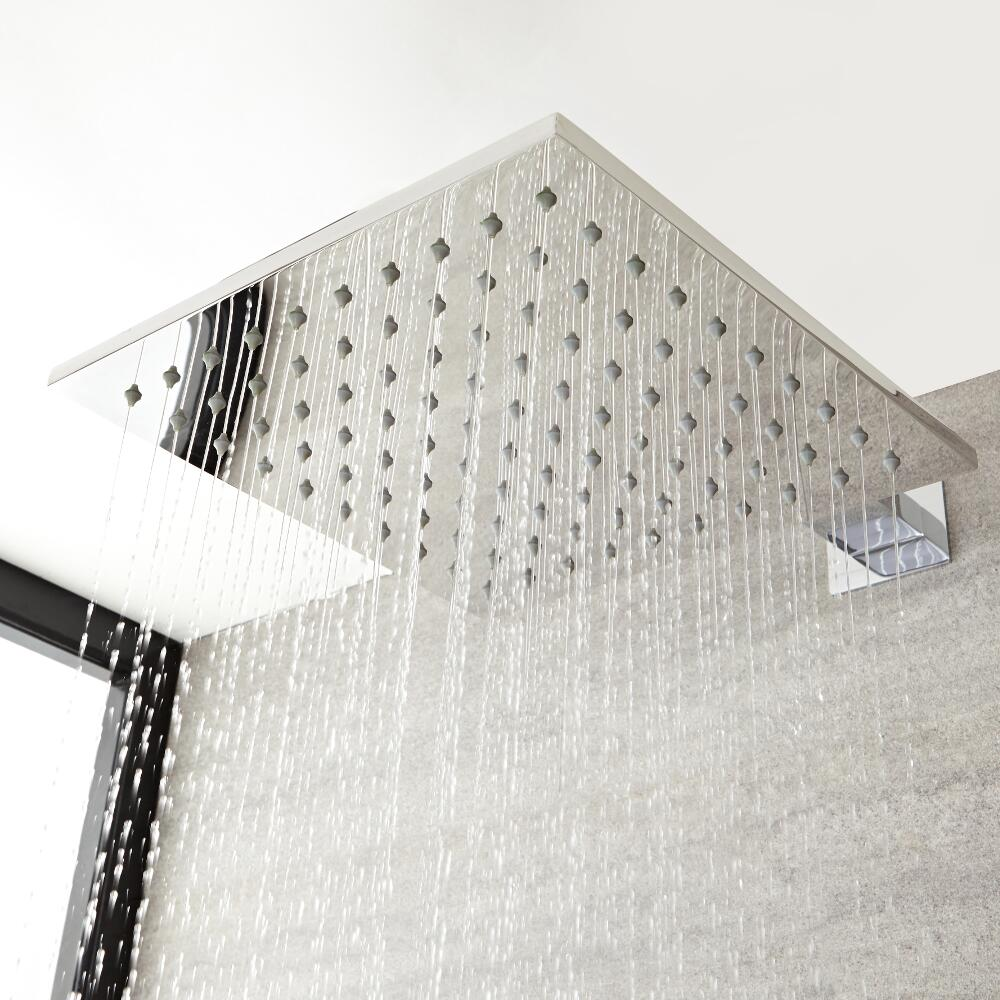 Milano Arvo - Modern 400mm Square Stainless Steel Shower Head - Chrome