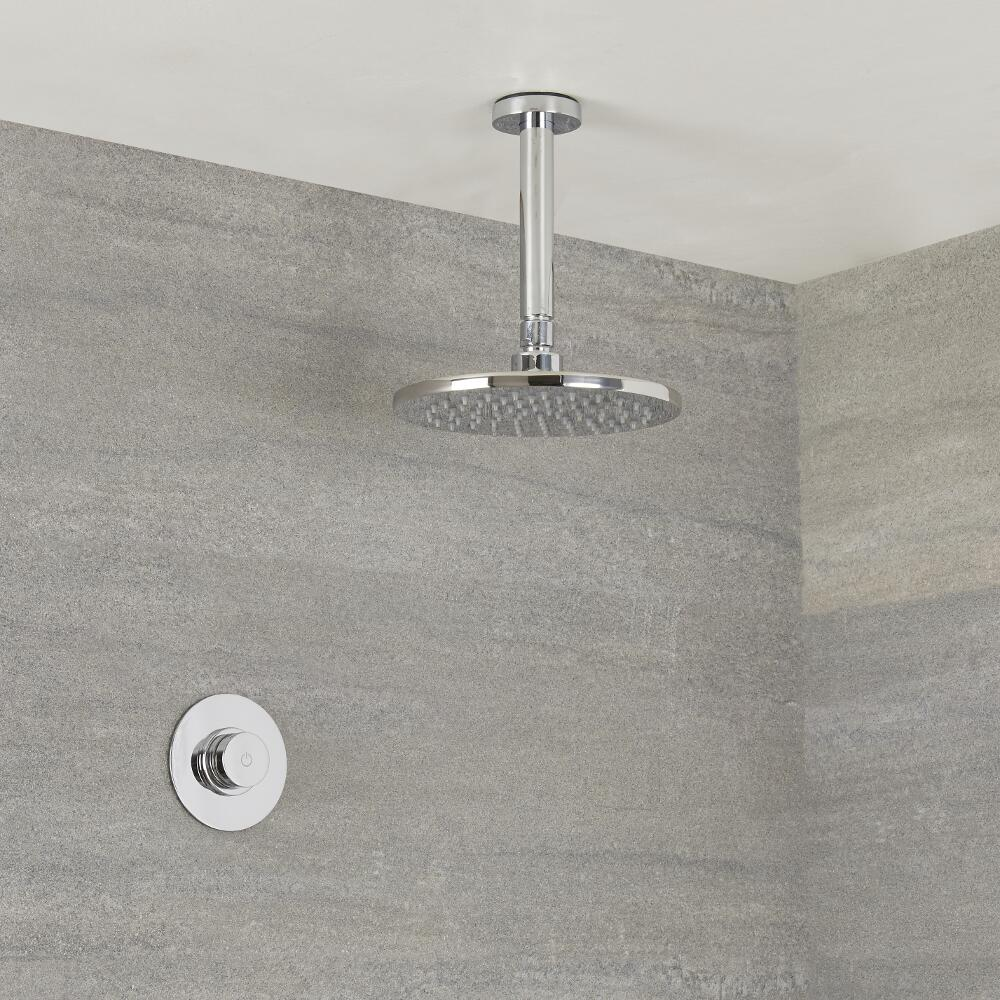 Milano Vis - One Outlet Digital Thermostatic Shower with Round Ceiling Mounted Shower Head 200mm