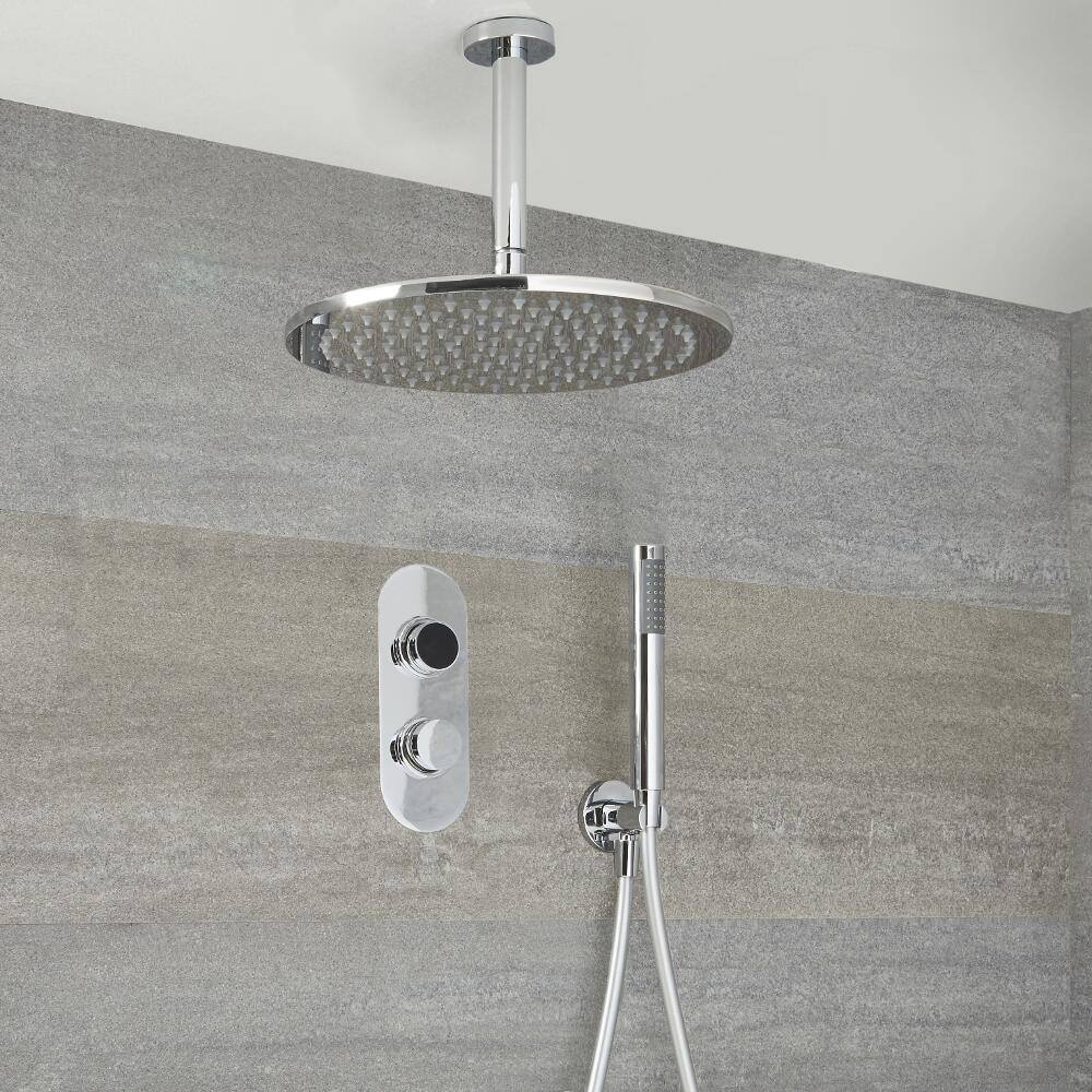 Milano Vis - Modern 2 Outlet Shower with Digital Thermostatic Valve, Hand Shower and Round Ceiling Mounted Shower Head - Chrome