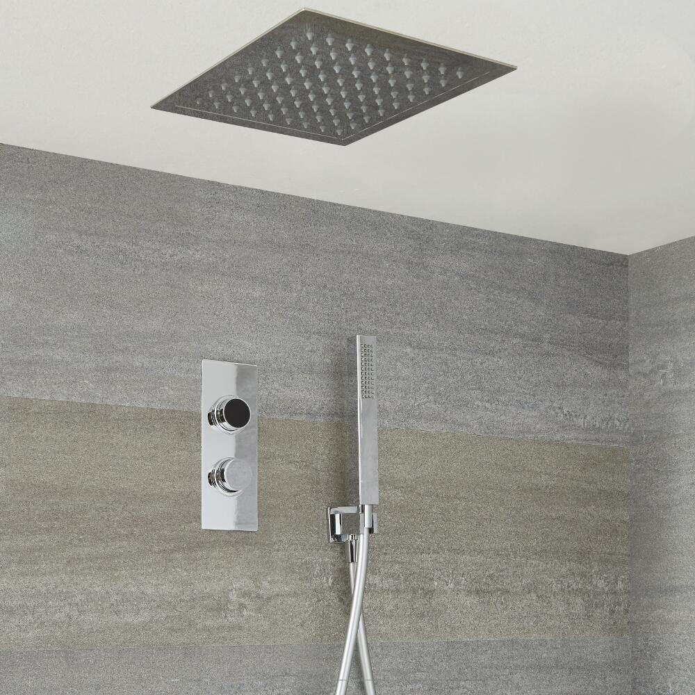 Milano Vis Two Outlet Digital Thermostatic Shower with Square Recessed Head and Handset