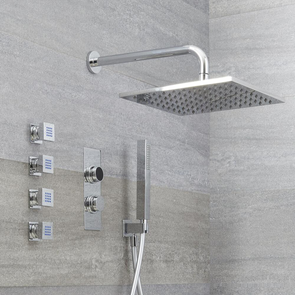 Milano Vis - Chrome Thermostatic Digital Shower with Wall Mounted Square Shower Head, Hand Shower and Body Jets (3 Outlet)