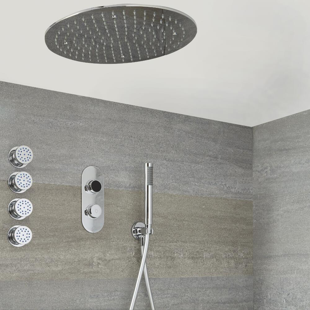Milano Vis - Chrome Thermostatic Digital Shower with Round Recessed Shower Head, Hand Shower and Body Jets (3 Outlet)