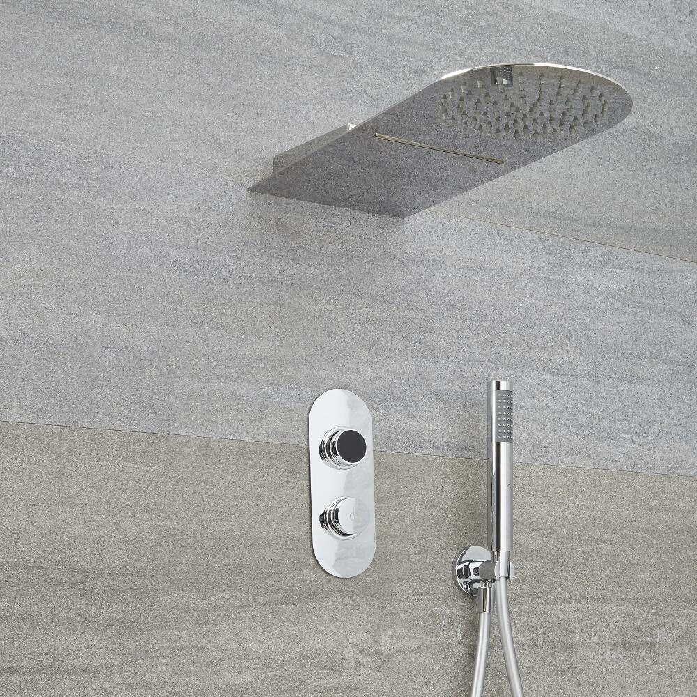 Milano Vis Three Outlet Digital Shower with Waterblade Shower Head and Handset